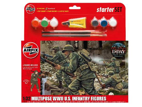 Airfix 1/32 55212 WWII US Infantry Multipose Figures - Starter / Gift Set