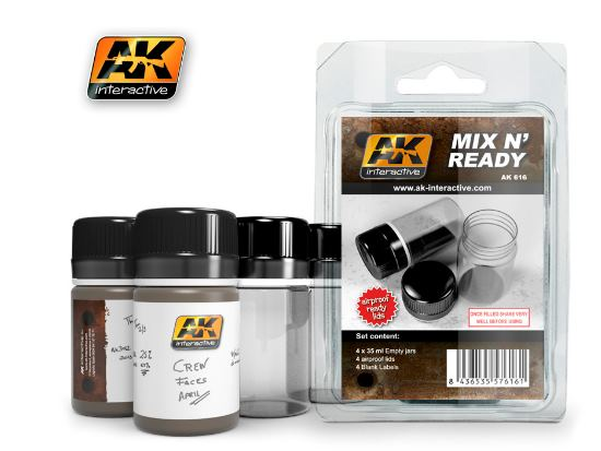 AK Interactive - 00616 Mix N' Ready - 4 Paint Jars w/ Labels