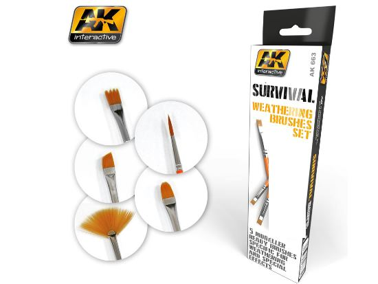 AK Interactive - 00663 Survival Weathering Brush Set (5 Brushes)