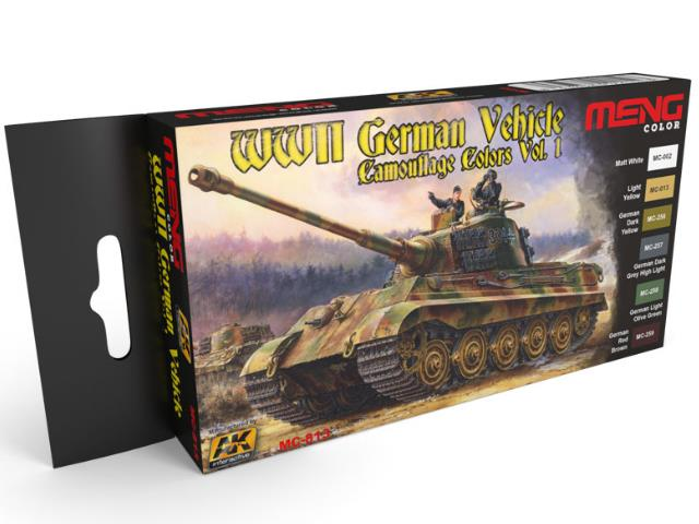 AK Interactive 6x17ml MC813 WWII German Vehicle Camouflage Colours Vol.1 Paint Set (Meng Series)