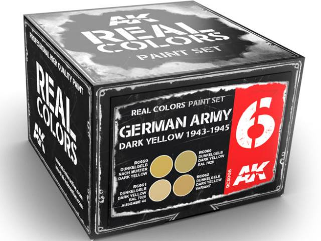 AK Interactive 10ml x4 RCS006 Real Colors Lacquer Paint Set - German Dark Yellow 1943-1945