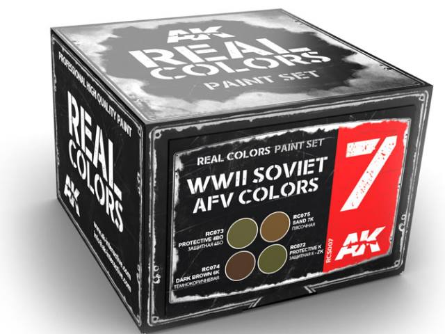 AK Interactive 10ml x4 RCS007 Real Colors Lacquer Paint Set - WWII Soviet AFV
