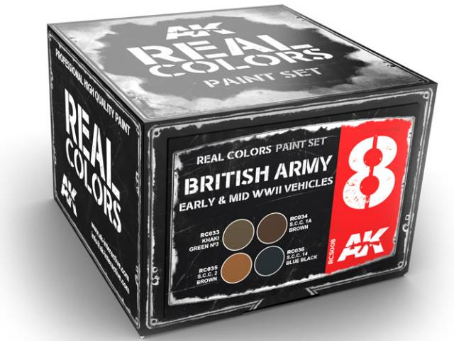 AK Interactive 10ml x4 RCS008 Real Colors Lacquer Paint Set - British Army WWII Early / Mid