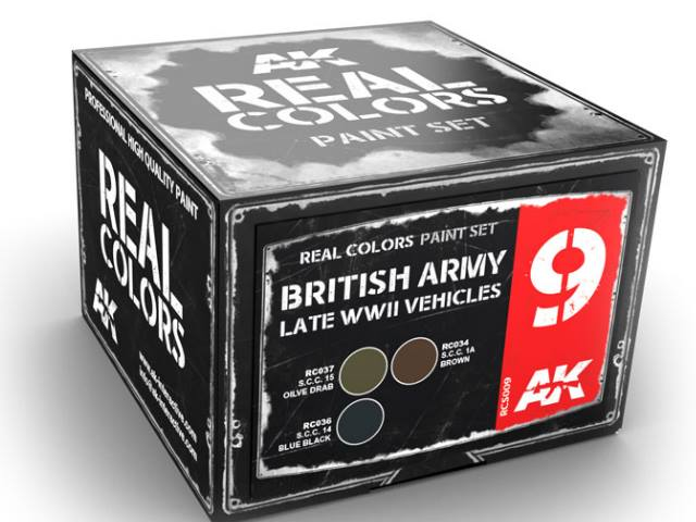 AK Interactive 10ml x3 RCS009 Real Colors Lacquer Paint Set - British Army WWII Late Vehicles