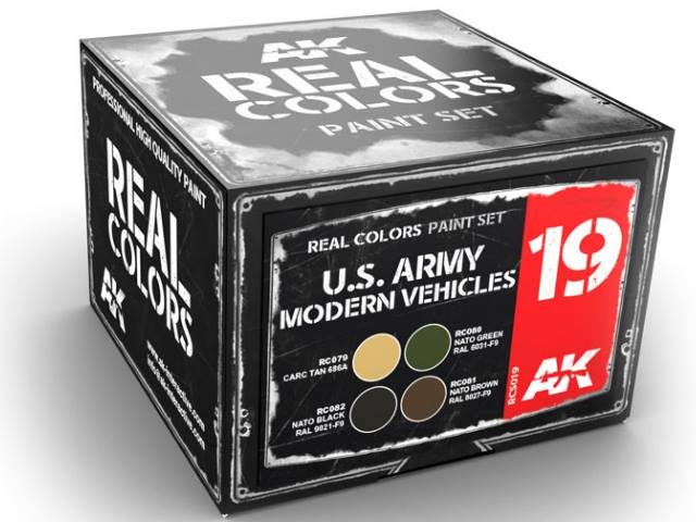 AK Interactive Real Colors Lacquer Paint Set - US Army Modern Vehicles