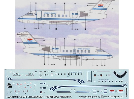 BOA Decals 1/144 14426 CL 604 Challenger (Croatia)  Republika Hrvatska