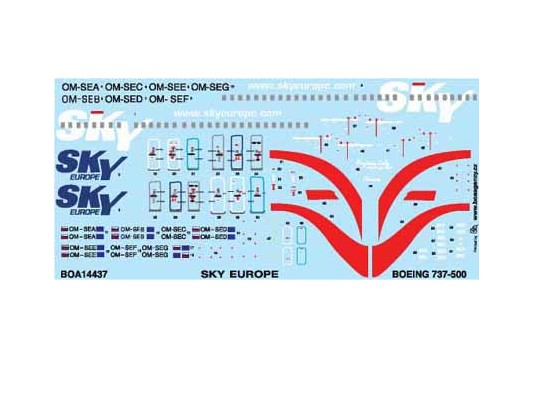 BOA Decals 1/144 14437 Boeing 737-5YO Sky Europe