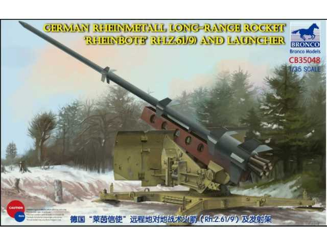 Bronco 1/35 35048 German Rheinmetall Long-Range Rocket 'Rheinbote' (Rh.Z.61/9) and launcher