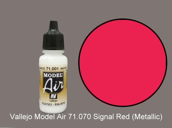 Vallejo 17ml MA070 Model Air - 070  Turn Signal Red (Metallic)