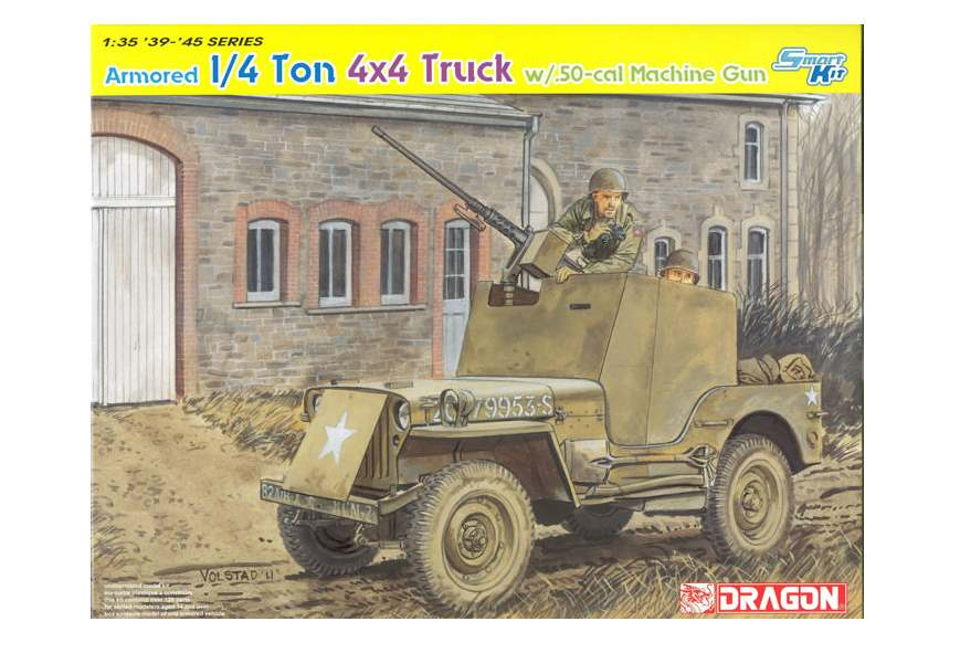 Dragon 1/35 6714 1/4 Ton Armored 4x4 Truck .50-cal Machine Gun  Smart Model Kit