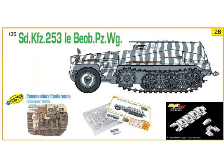 Dragon 1/35 9128 Sd.Kfz 253 Le Beob Pz Wg w/Commanderds Conference Figures