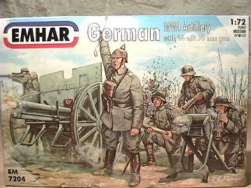 Emhar 1/72 7204 WWI German Artillery and 96 N/A 77mm Cannon