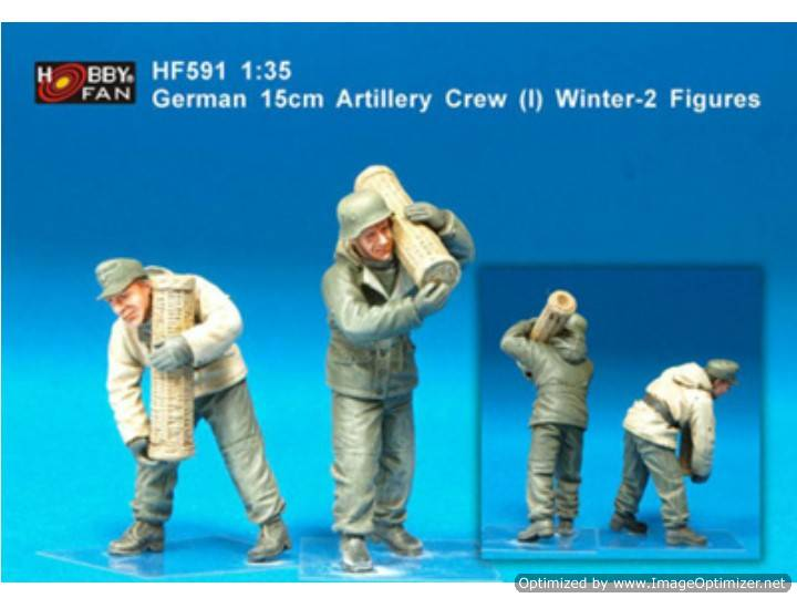 Hobby Fan 1/35 591 German 15cm Artillery Crew Winter (1) 2-Resin Figures