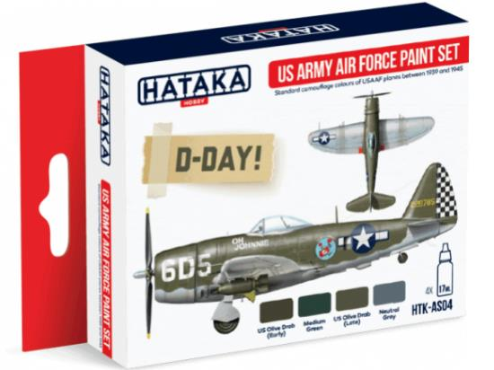 Hataka 4x 17ml AS04 Acrylic Paint Set - US Army Air Force