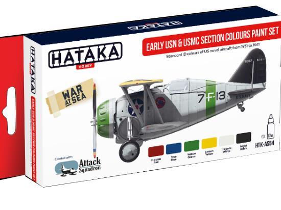 Hataka 6x 17ml AS54 Acrylic Paint Set - Early USN and USMC Section Colours