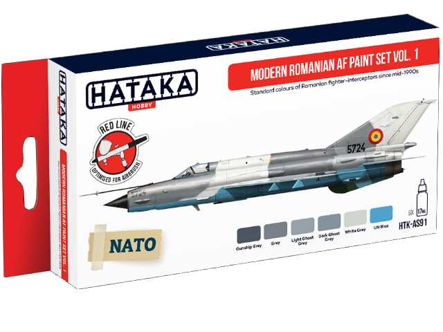 Hataka 6 x 17ml AS91 Acrylic Paint Set - Modern Romanian AF vol. 1