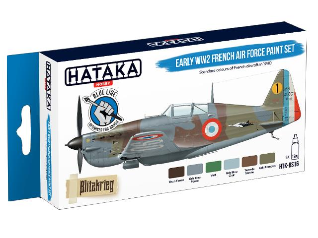 Hataka 6 x 17ml BS16 Acrylic Paint Set - Early WWII French Air Force (for hand brushing)