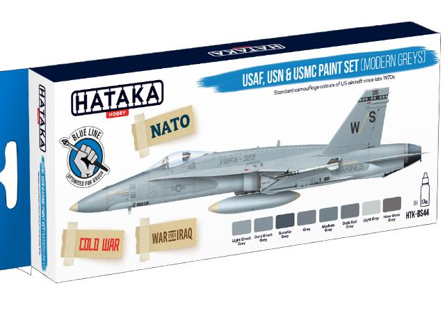 Hataka 8 x 17ml BS44 Acrylic Paint Set - USAF, USN & USMC modern greys (for hand brushing)