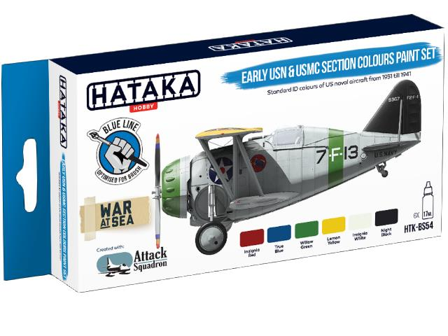 Hataka 6 x 17ml BS54 Acrylic Paint Set - Early USN & USMC Section Colours (for hand brushing)