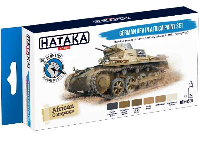 Hataka 6 x 17ml BS90 Acrylic Paint Set -German AFV in Africa (for hand brushing)