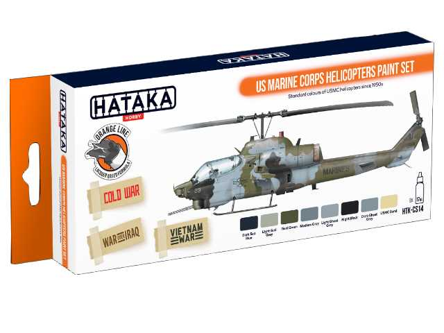 Hataka 8 x 17ml CS14 Laquer Paint Set - US Marine Corps Helicopters