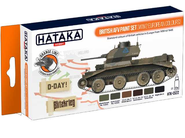 Hataka 6 x 17ml CS22 Laquer Paint Set - British AFV WWII European colours