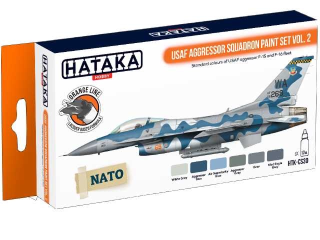 Hataka 6 x 17ml CS30 Laquer Paint Set - USAF Aggressor Squadron vol. 2