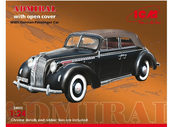 ICM 1/24 24022 Admiral Cabriolet with open cover, WWII German Passenger Car