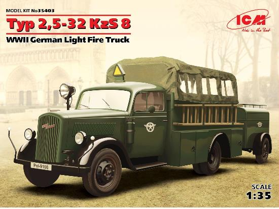 ICM 1/35 35403 Type 2-5,32 KzS8 WWII German Light Fire Truck