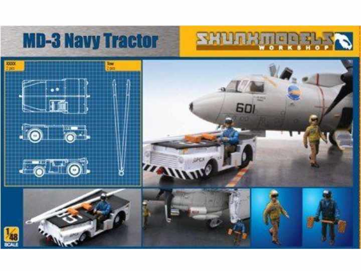 Kinetic - MD-3 Navy Tractor with 3 Firgures 1/48 SW48003