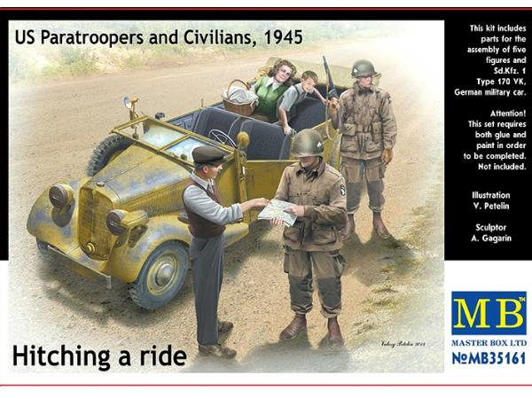 Master Box 1/35 35161 Hitching a Ride - SdKfz .1, US Paratroopers and Civilians 1945