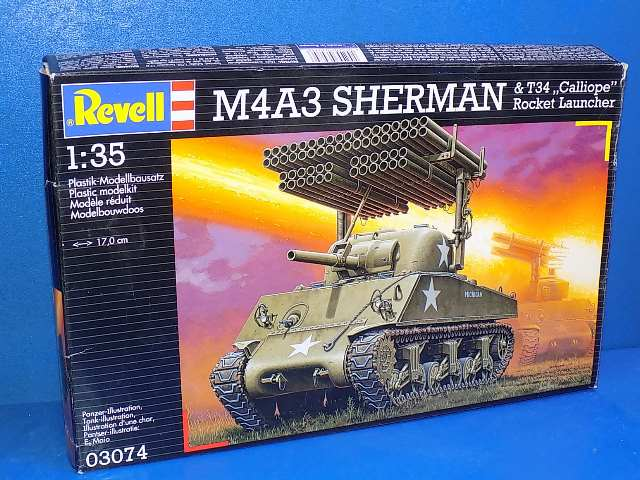Revell 1/35 03074 M4A3 Sherman & T34 Calliope Rocket Launher - NO DECALS Date: 00's