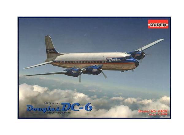 Roden 1/144 304 Douglas DC-6, Delta Airlines, early 1950s