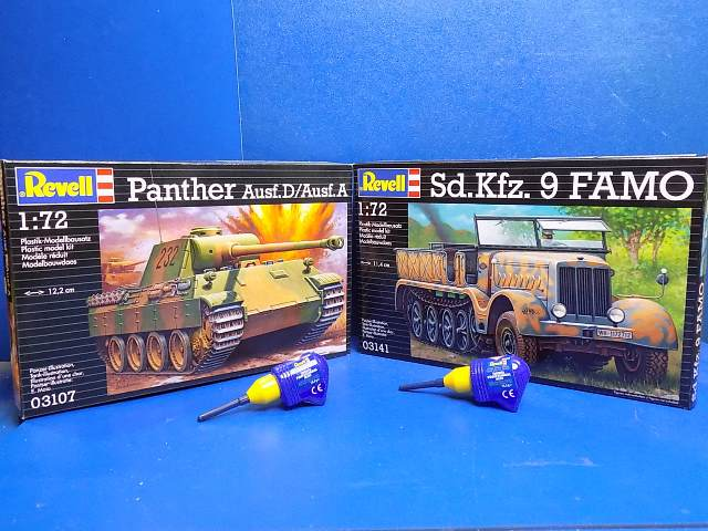 Revell 1/72 SP03 03107 Panther Ausf.D/A, 03141 Sd.Kfz.9 Famo w/ 2x 39608 Glues