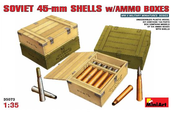 Miniart 1/35 35073 Soviet 45mm Shells with Ammo Boxes