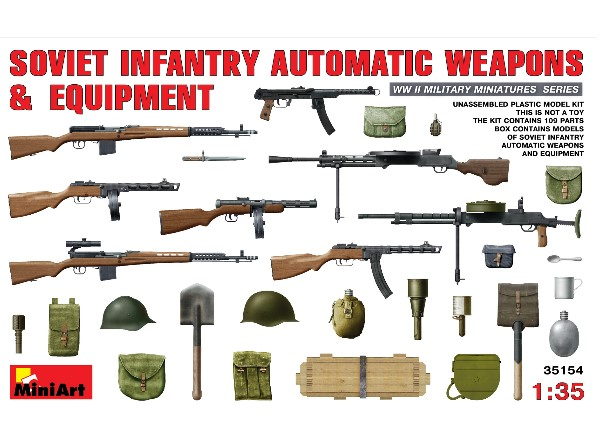 Miniart 1/35 35154 Soviet Infantry Automatic Weapons & Equipment