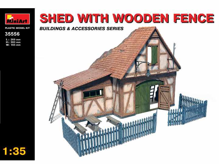 Miniart 1/35 35556 Shed with Wooden Fence