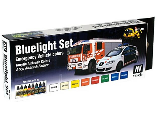 Vallejo 17ml x 8 71154 Model Air Set - Bluelight - Emergency Vehicle Colours