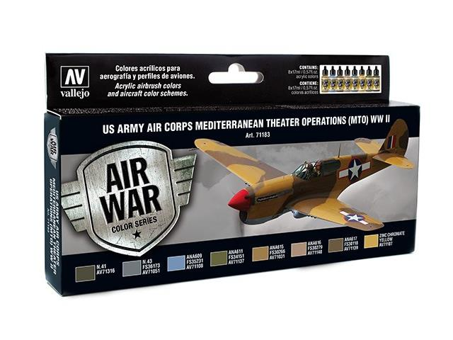Vallejo 17ml x 8 71183 Model Air Set -  US Army Air Corps MTO WWII