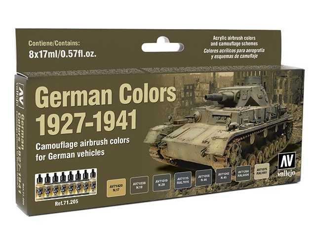 Vallejo 17ml x 8 71205 Model Air Set - German Colours 1927-1941