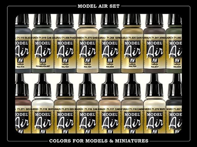 Vallejo 17ml x 16 71208 Model Air Set  - WWII German Colour. Europe & Africa