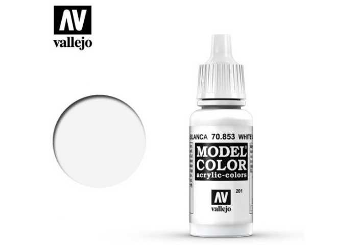Vallejo 17ml 853 201 Model Color - White Glaze 853