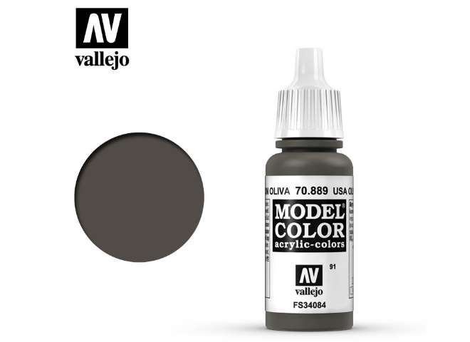 Vallejo 17ml 889 091 Model Color - USA Olive Drab 889