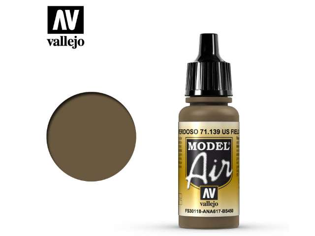 Vallejo 17ml MA139 Model Air - 139 US Field Drab (FS30118)