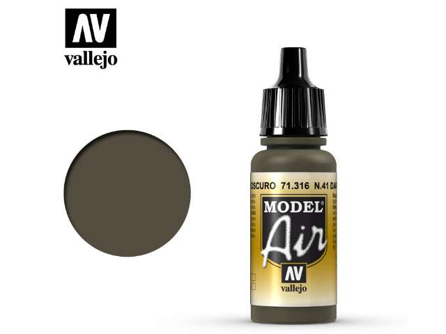 Vallejo 17ml MA316 Model Air - 316 N41 Dark Olive Drab