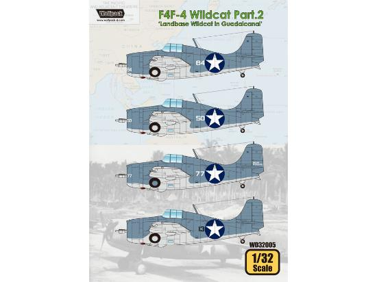 Wolfpack Design 1/32 WD32005 F4F-4 Wildcat Decals Part.2 - Landbase Wildcat in Guadalcanal