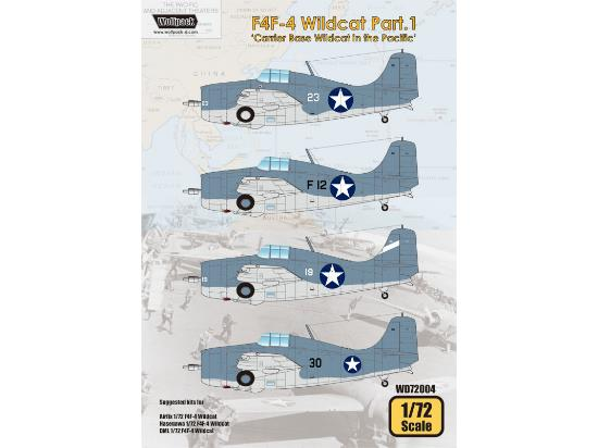 Wolfpack Design 1/72 WD72004 F4F-4 Wildcat Decals Part.1 - Carrier Base Wildcat in the Pacific