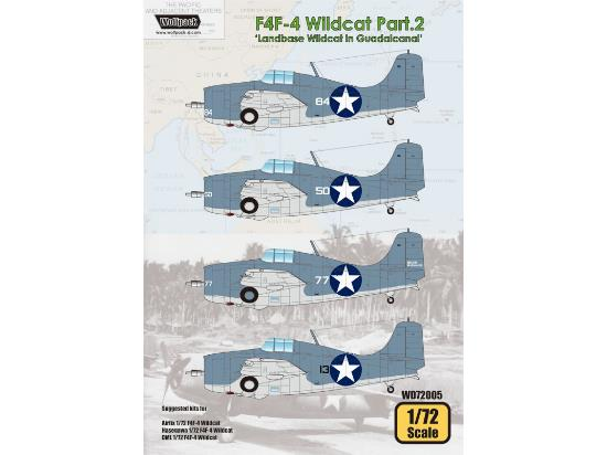 Wolfpack Design 1/72 WD72005 F4F-4 Wildcat Decals Part.2 Landbase Wildcat in Guadalcanal