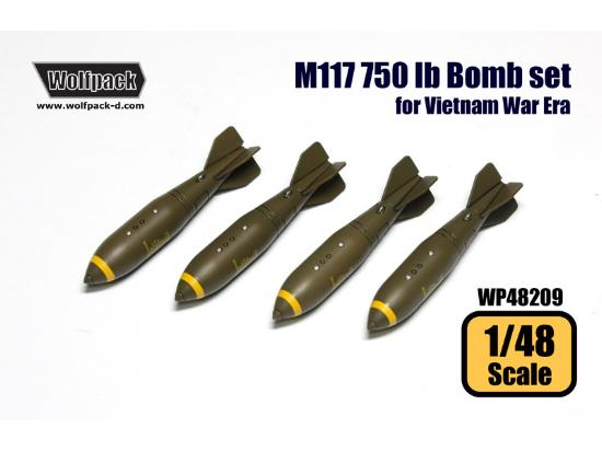 Wolfpack Design 1/48 WP48209 M117 750 lb Bomb set for Vietnam War Era