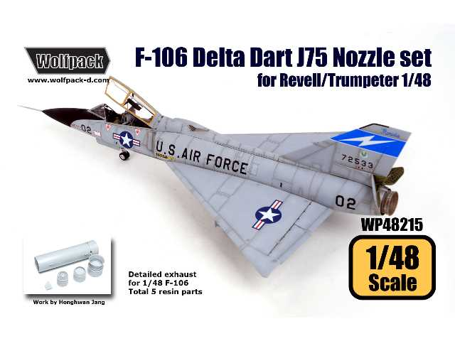 Wolfpack Design 1/48 WP48215 F-106 Delta Dart J75 Engine Nozzle Set